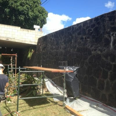 Failing retaining rock wall in Honolulu