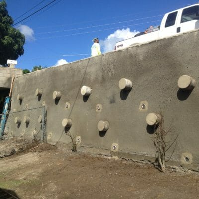 Stabilized retaining wall in Papakolea Hawaii
