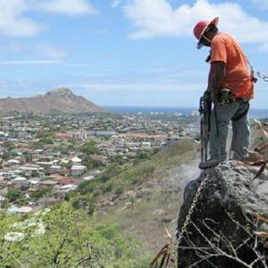 Boulder demoltion - Rockfall mitigation work in Honolulu, Hawaii