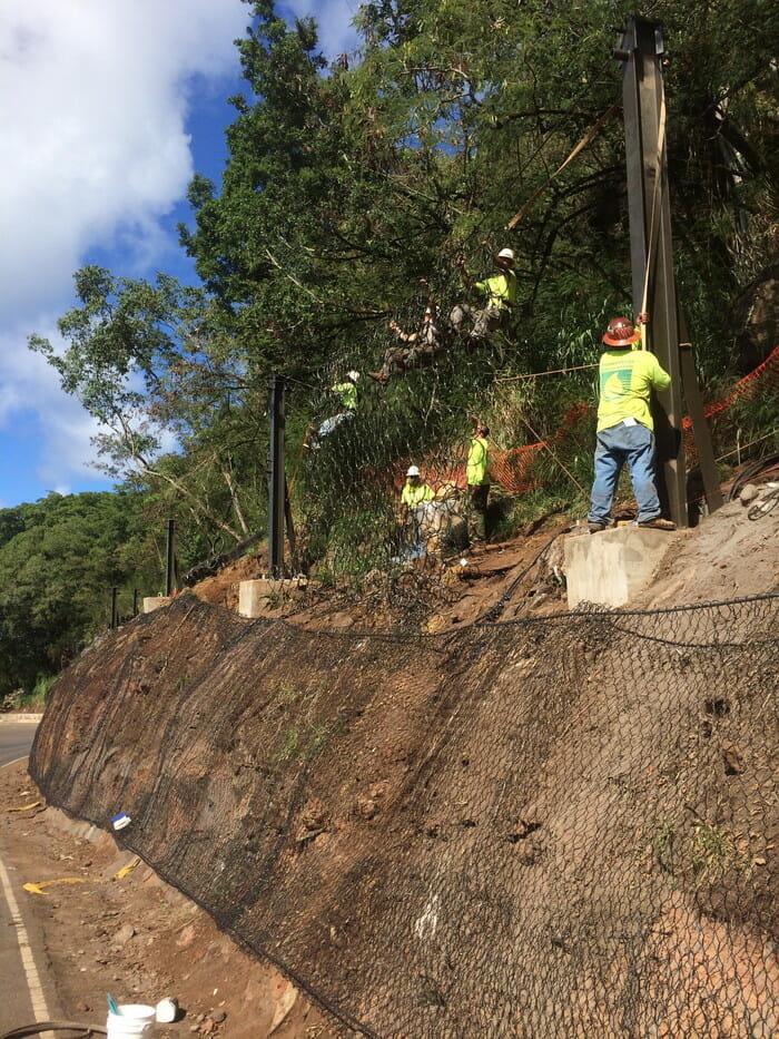 Pupukea Road Rockfall Mitigation Hawaii Rockfall