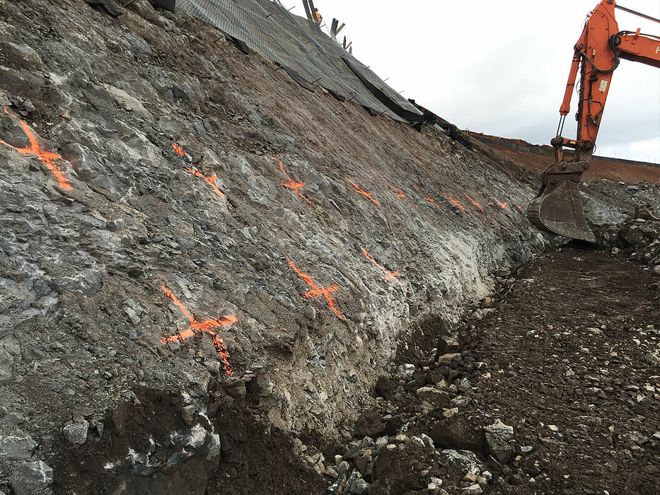 Soil nail walls hawaii rockfall mitigation erosion for Soil nail wall