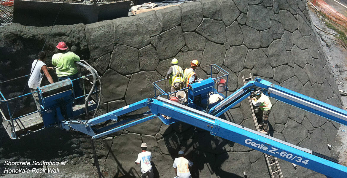 Honoka'a Sculpted Shotcrete Rock Wall Big Island Hawaii